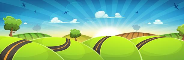 Paysage arrondi de printemps avec route et soleil levant
