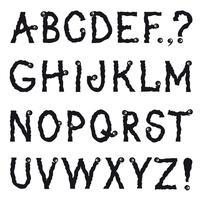 Alphabet latin Police décorative de ligne grunge. Jeu de caractères