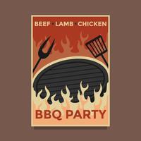 Vecteur d'affiche fête barbecue rétro