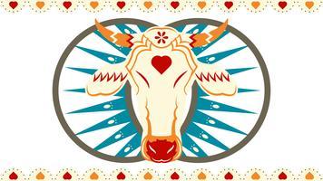 Tête de taureau Bumba Meu Boi et fond abstrait vecteur