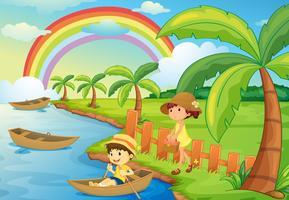 un garçon et une fille font du bateau vecteur