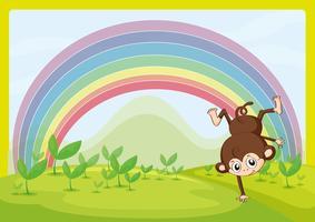 Un singe dansant et un arc en ciel