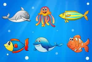 Six créatures marines souriantes sous la mer profonde