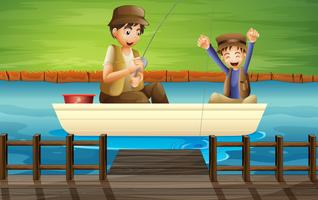 Enfants attraper du poisson vecteur