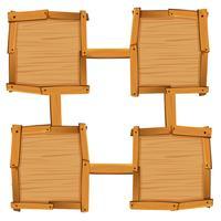 Quatre carrés en bois comme modèles de plateau