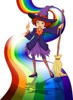 Une sorcière à l'arc-en-ciel vecteur