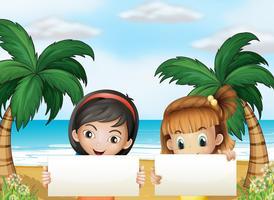 Jeunes femmes à la plage avec des panneaux de signalisation vides vecteur