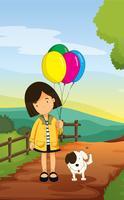 une fille et un chien vecteur