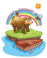 Un ours et des abeilles dans une île vecteur