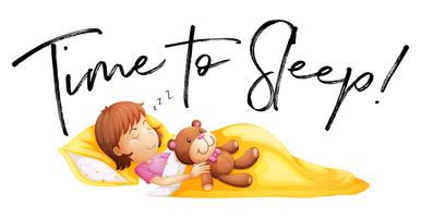 Temps de parole pour dormir avec petite fille au lit