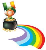 Un homme dans un pot de pièces d'or tenant un drapeau