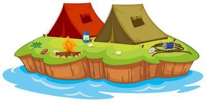 Camp de base sur une île vecteur