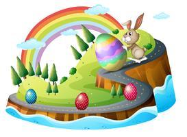 Jour de Pâques avec des oeufs de Pâques vecteur