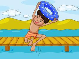 un garçon et une eau