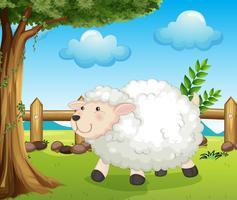 Un mouton à l'intérieur de la clôture vecteur