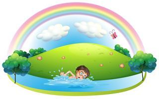 Un garçon nageant dans la rivière près de la colline vecteur