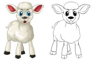 Griffonnage animal pour petit agneau vecteur