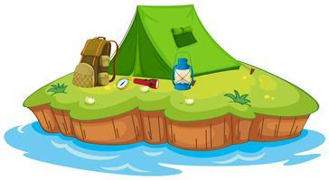 Camping sur une île vecteur