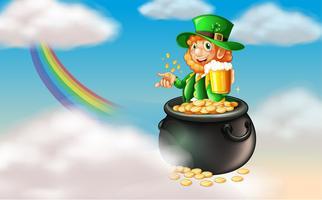 Un homme dans un pot d'or avec une chope de bière froide