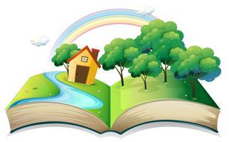 Un livre avec une histoire d'une maison à la forêt