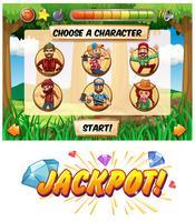 Modèle de jeu de machine à sous avec personnages de bûcheron vecteur