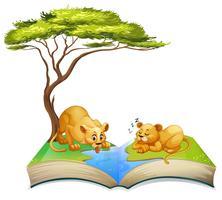 Livre de lions vivant au bord de la rivière vecteur