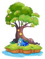 Une île avec un monstre bleu écrit