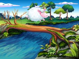 Un mouton traversant la rivière vecteur