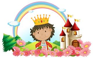 Un roi devant un château vecteur