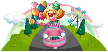 Une voiture rose avec un clown féminin