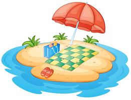 Une île avec un parapluie et une couverture vecteur