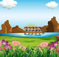 Un groupe d'hommes qui font du bateau