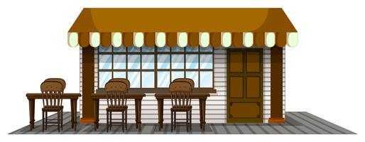 Cafetière avec sièges à l'extérieur