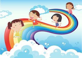 Quatre jeunes filles jouant dans le ciel