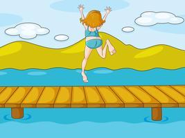 une fille et de l'eau