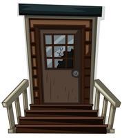 Porte en bois avec fenêtre cassée