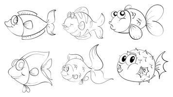 Différents poissons dans un dessin de griffonnage vecteur