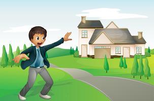 un garçon et une maison