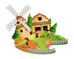 Beaucoup d'enfants jouent dans la ferme vecteur