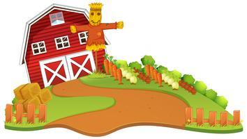 Scène de ferme avec jardin d'épouvantails et de légumes vecteur