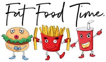Différents types de fast food vecteur