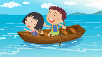 Un garçon et une fille faisant du bateau