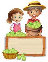 Agriculteur à la chaux sur une planche de bois