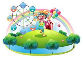 Un clown avec une fleur dans une île avec un carnaval vecteur