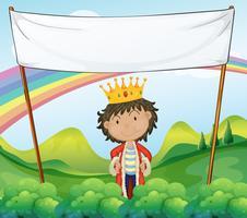 Un roi debout sous un panneau blanc vide