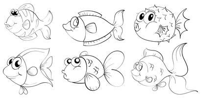 Silhouettes de poissons vecteur