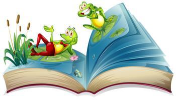 Livre ouvert avec deux grenouilles dans l'étang vecteur