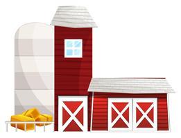 Grange avec deux tours de silo vecteur