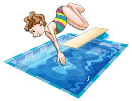 Femme sautant dans la piscine