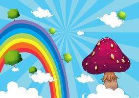 L'arc-en-ciel et le champignon géant vecteur